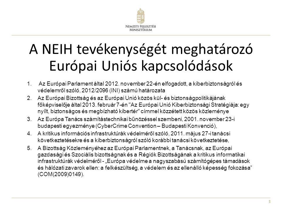 8 1. Az Európai Parlament által 2012. november 22-én elfogadott, a kiberbiztonságról és védelemről szóló, 2012/2096 (INI) számú határozata 2.Az Európa