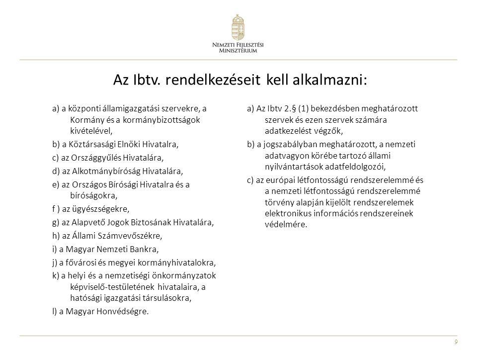 9 Az Ibtv. rendelkezéseit kell alkalmazni: a) a központi államigazgatási szervekre, a Kormány és a kormánybizottságok kivételével, b) a Köztársasági E