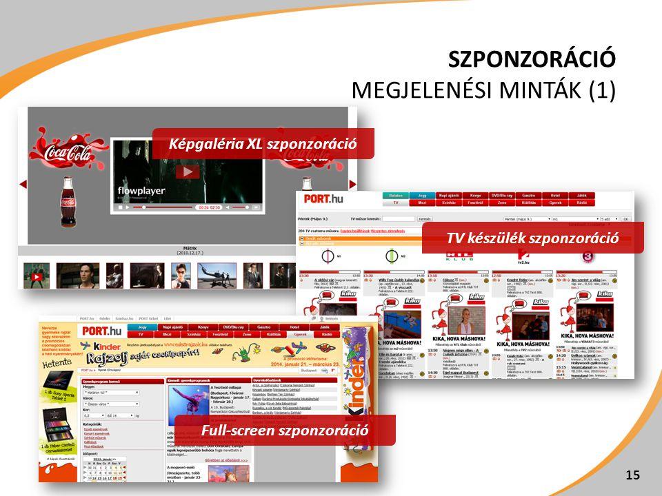 SZPONZORÁCIÓ MEGJELENÉSI MINTÁK (1) 15 TV készülék szponzoráció Képgaléria XL szponzoráció Full-screen szponzoráció