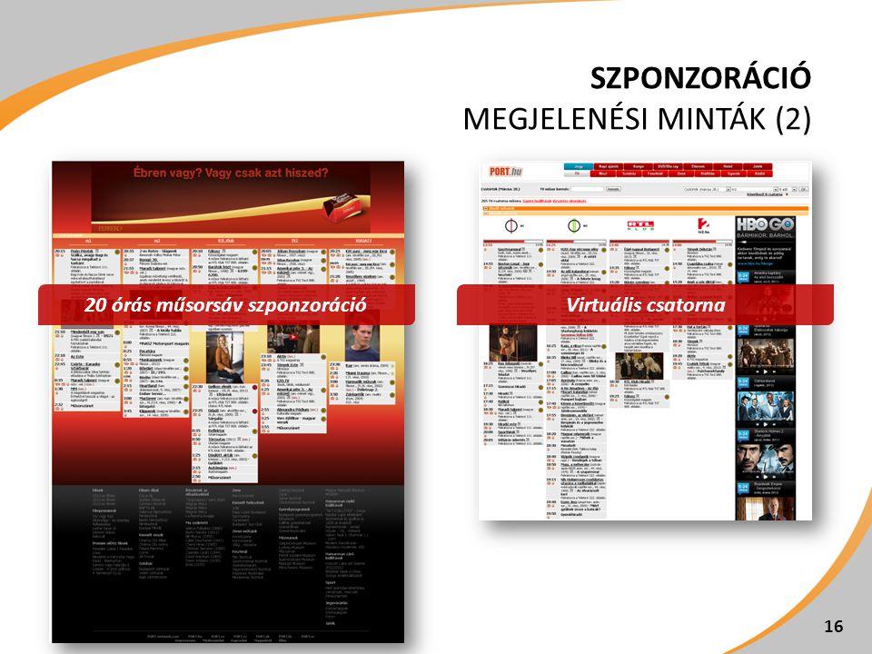 SZPONZORÁCIÓ MEGJELENÉSI MINTÁK (2) 16 Virtuális csatorna20 órás műsorsáv szponzoráció