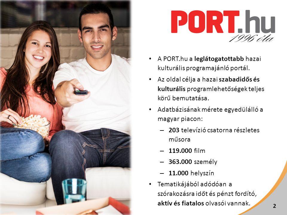 • A PORT.hu a leglátogatottabb hazai kulturális programajánló portál.