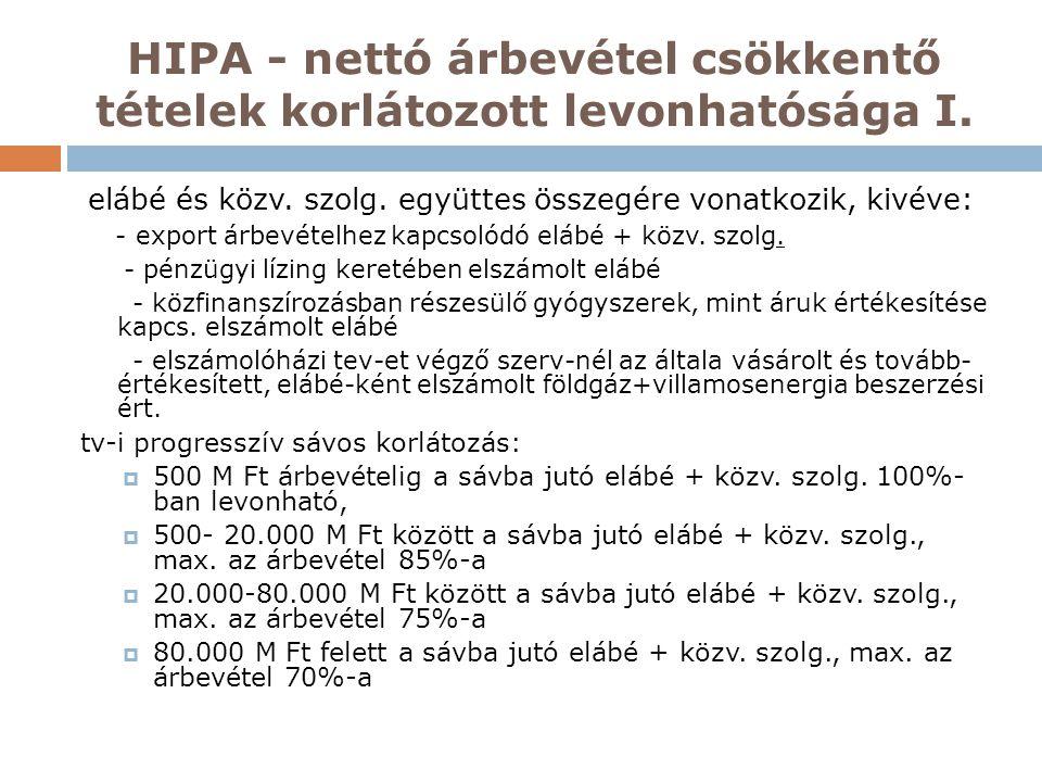 HIPA - nettó árbevétel csökkentő tételek korlátozott levonhatósága I. elábé és közv. szolg. együttes összegére vonatkozik, kivéve: - export árbevételh