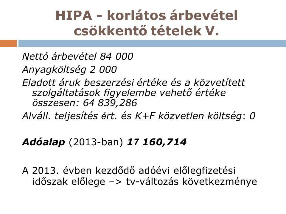 HIPA - korlátos árbevétel csökkentő tételek V. Nettó árbevétel 84 000 Anyagköltség 2 000 Eladott áruk beszerzési értéke és a közvetített szolgáltatáso