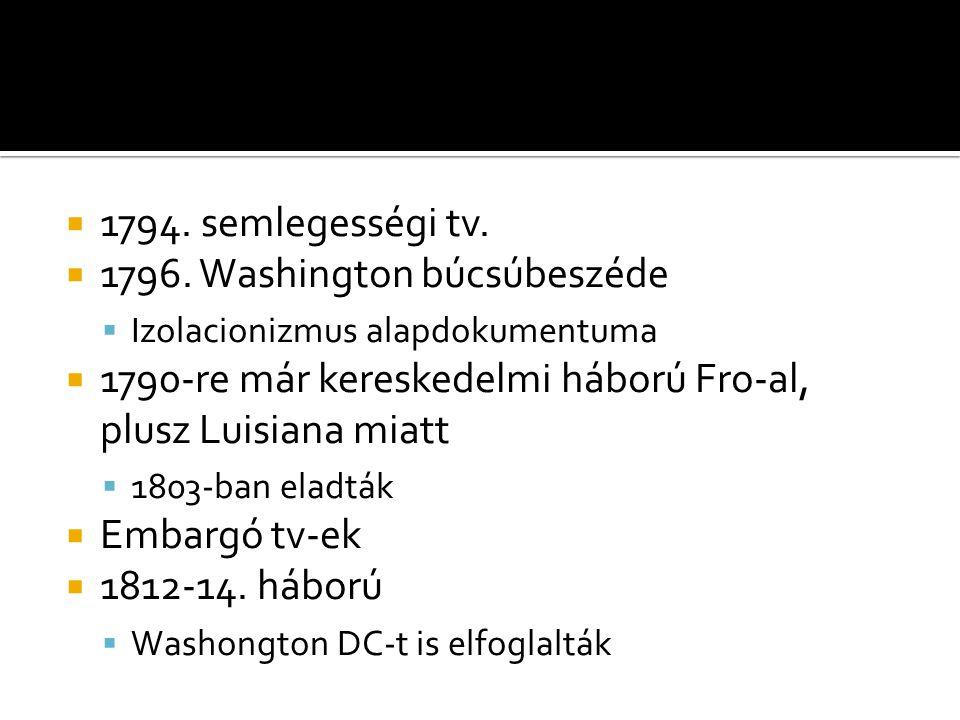  1794. semlegességi tv.  1796.