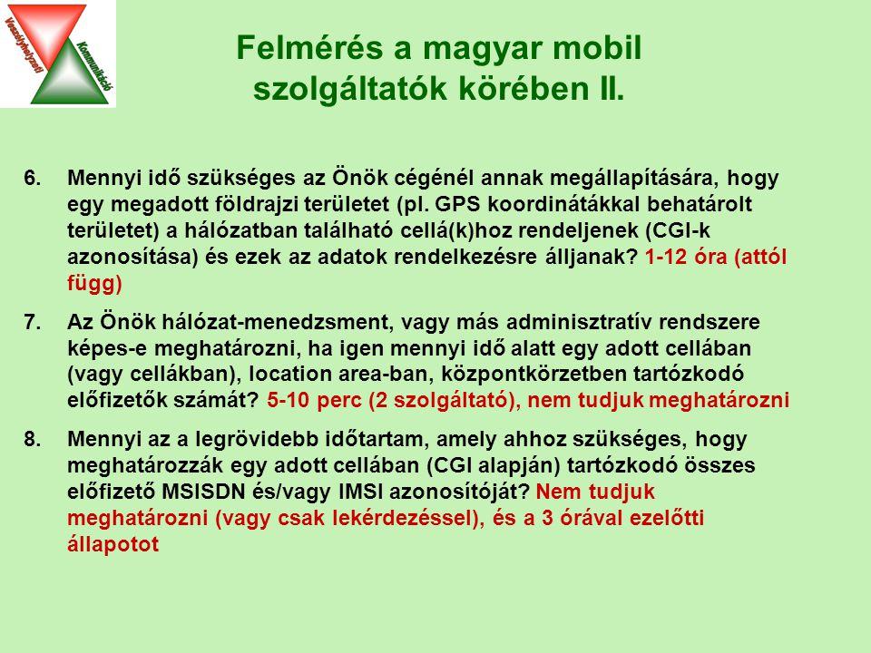 Felmérés a magyar mobil szolgáltatók körében II.