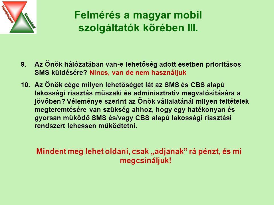 Felmérés a magyar mobil szolgáltatók körében III.