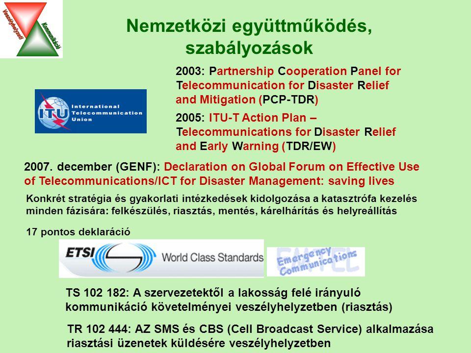 Nemzetközi együttműködés, szabályozások TR 102 444: AZ SMS és CBS (Cell Broadcast Service) alkalmazása riasztási üzenetek küldésére veszélyhelyzetben TS 102 182: A szervezetektől a lakosság felé irányuló kommunikáció követelményei veszélyhelyzetben (riasztás) 2003: Partnership Cooperation Panel for Telecommunication for Disaster Relief and Mitigation (PCP-TDR) 2005: ITU-T Action Plan – Telecommunications for Disaster Relief and Early Warning (TDR/EW) 2007.