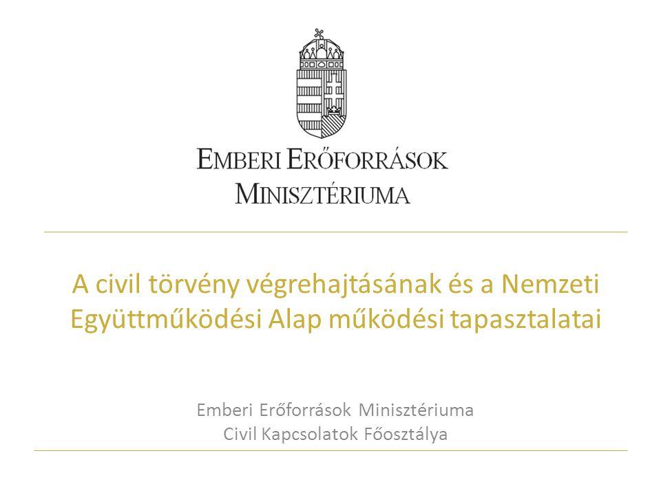 A civil törvény végrehajtásának és a Nemzeti Együttműködési Alap működési tapasztalatai Emberi Erőforrások Minisztériuma Civil Kapcsolatok Főosztálya