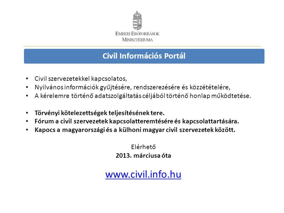 Civil Információs Portál • Civil szervezetekkel kapcsolatos, • Nyilvános információk gyűjtésére, rendszerezésére és közzétételére, • A kérelemre történő adatszolgáltatás céljából történő honlap működtetése.