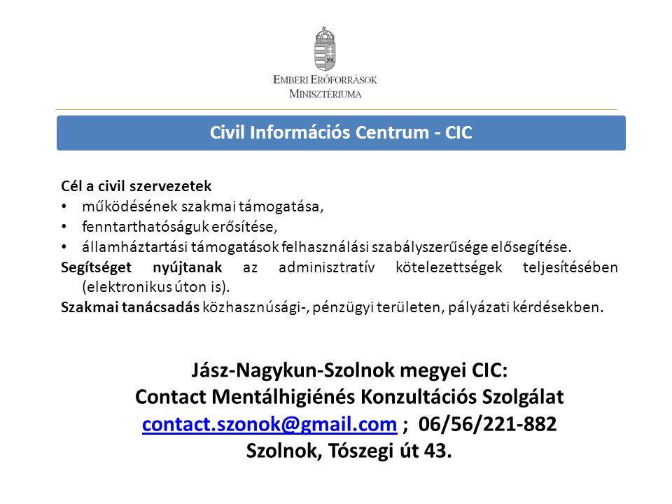 Civil Információs Centrum - CIC Cél a civil szervezetek • működésének szakmai támogatása, • fenntarthatóságuk erősítése, • államháztartási támogatások felhasználási szabályszerűsége elősegítése.