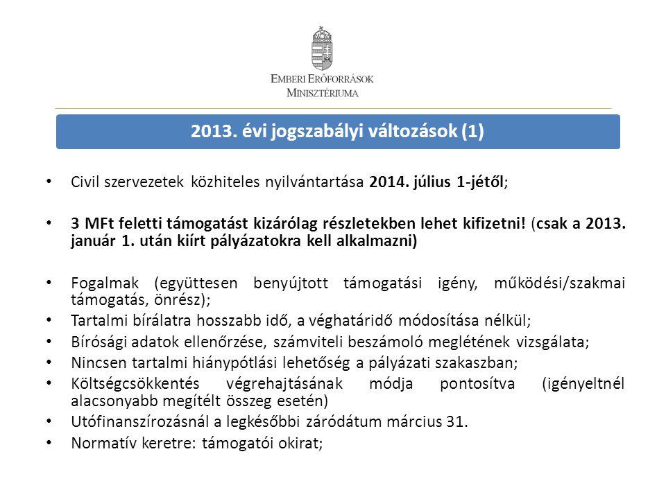 • Civil szervezetek közhiteles nyilvántartása 2014. július 1-jétől; • 3 MFt feletti támogatást kizárólag részletekben lehet kifizetni! (csak a 2013. j