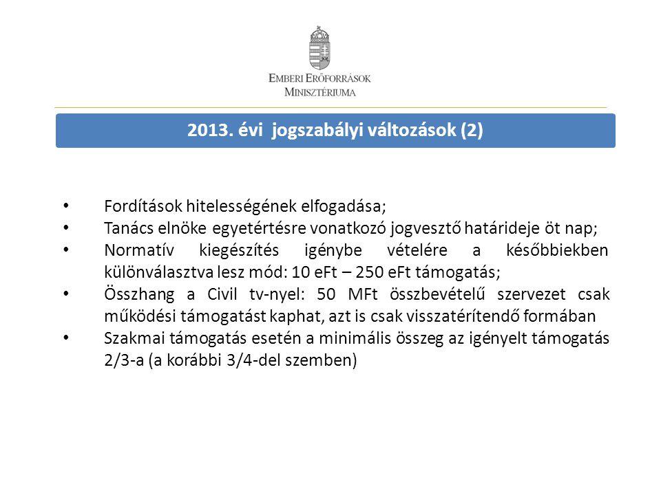2013. évi jogszabályi változások (2) • Fordítások hitelességének elfogadása; • Tanács elnöke egyetértésre vonatkozó jogvesztő határideje öt nap; • Nor