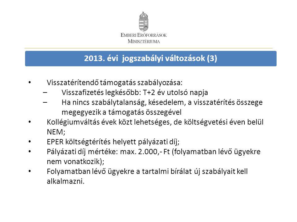 2013. évi jogszabályi változások (3) • Visszatérítendő támogatás szabályozása: –Visszafizetés legkésőbb: T+2 év utolsó napja –Ha nincs szabálytalanság