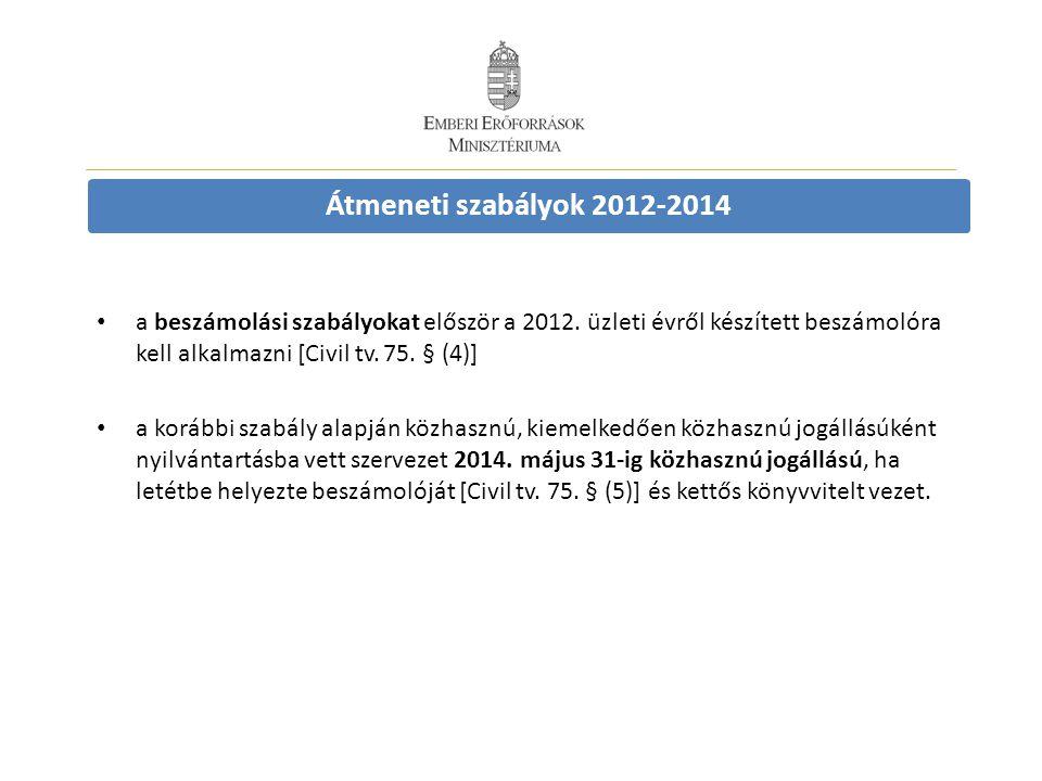 Átmeneti szabályok 2012-2014 • a beszámolási szabályokat először a 2012. üzleti évről készített beszámolóra kell alkalmazni [Civil tv. 75. § (4)] • a