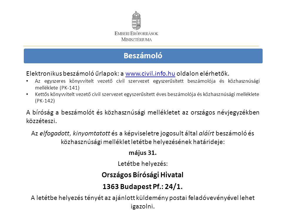 Beszámoló Elektronikus beszámoló űrlapok: a www.civil.info.hu oldalon elérhetők.www.civil.info.hu • Az egyszeres könyvvitelt vezető civil szervezet eg