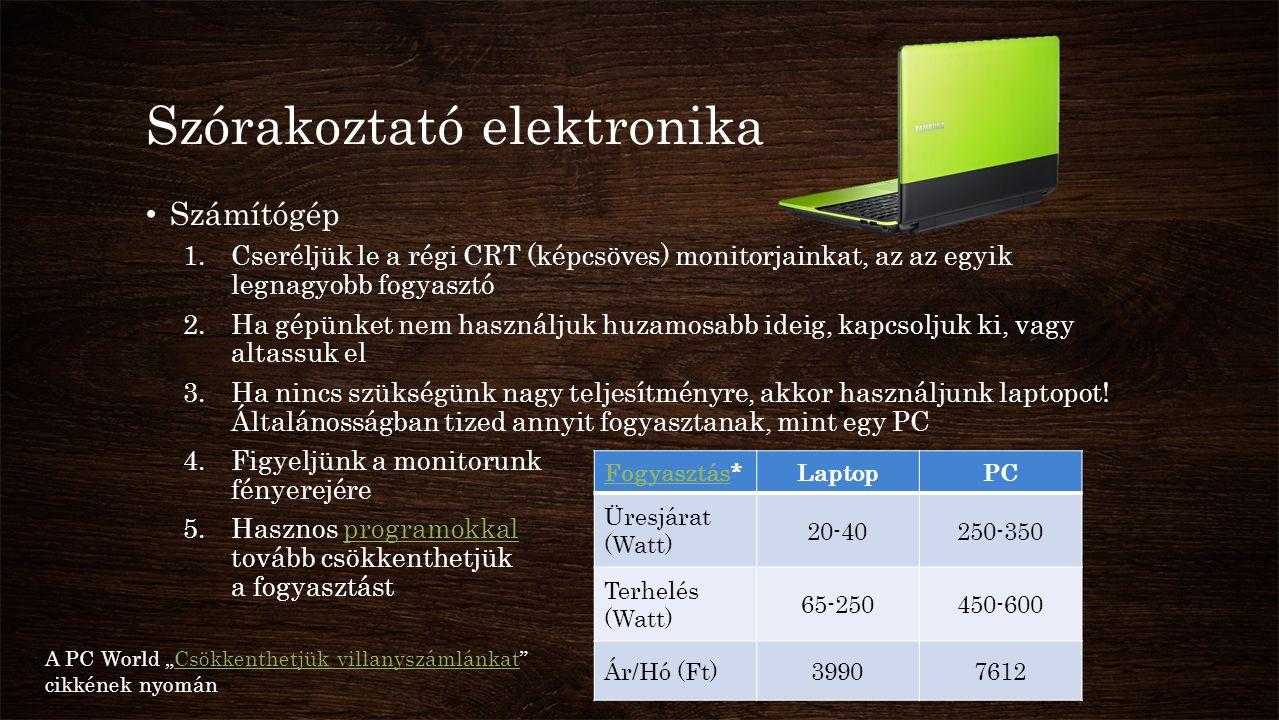 Szórakoztató elektronika • Számítógép 1.Cseréljük le a régi CRT (képcsöves) monitorjainkat, az az egyik legnagyobb fogyasztó 2.Ha gépünket nem használ