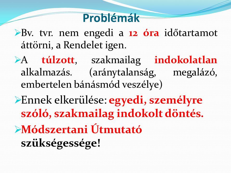 Problémák  Bv. tvr. nem engedi a 12 óra időtartamot áttörni, a Rendelet igen.  A túlzott, szakmailag indokolatlan alkalmazás. (aránytalanság, megalá