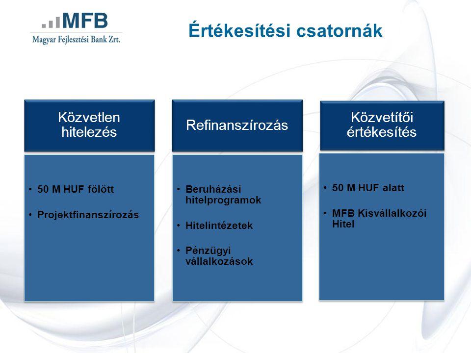 Értékesítési csatornák Közvetlen hitelezés •50 M HUF fölött •Projektfinanszírozás Refinanszírozás •Beruházási hitelprogramok •Hitelintézetek •Pénzügyi vállalkozások Közvetítői értékesítés •50 M HUF alatt •MFB Kisvállalkozói Hitel