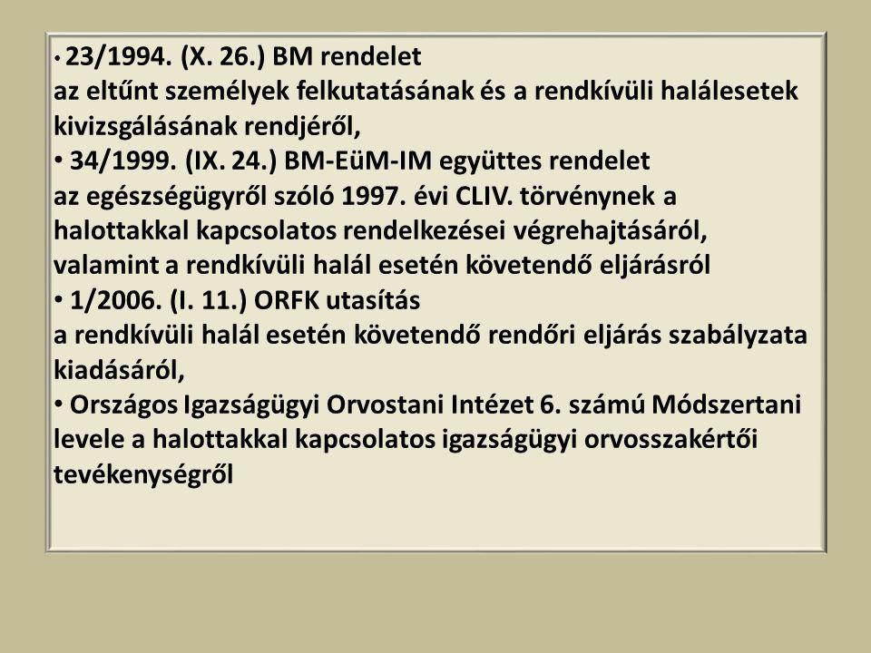• 23/1994. (X. 26.) BM rendelet az eltűnt személyek felkutatásának és a rendkívüli halálesetek kivizsgálásának rendjéről, • 34/1999. (IX. 24.) BM-EüM-