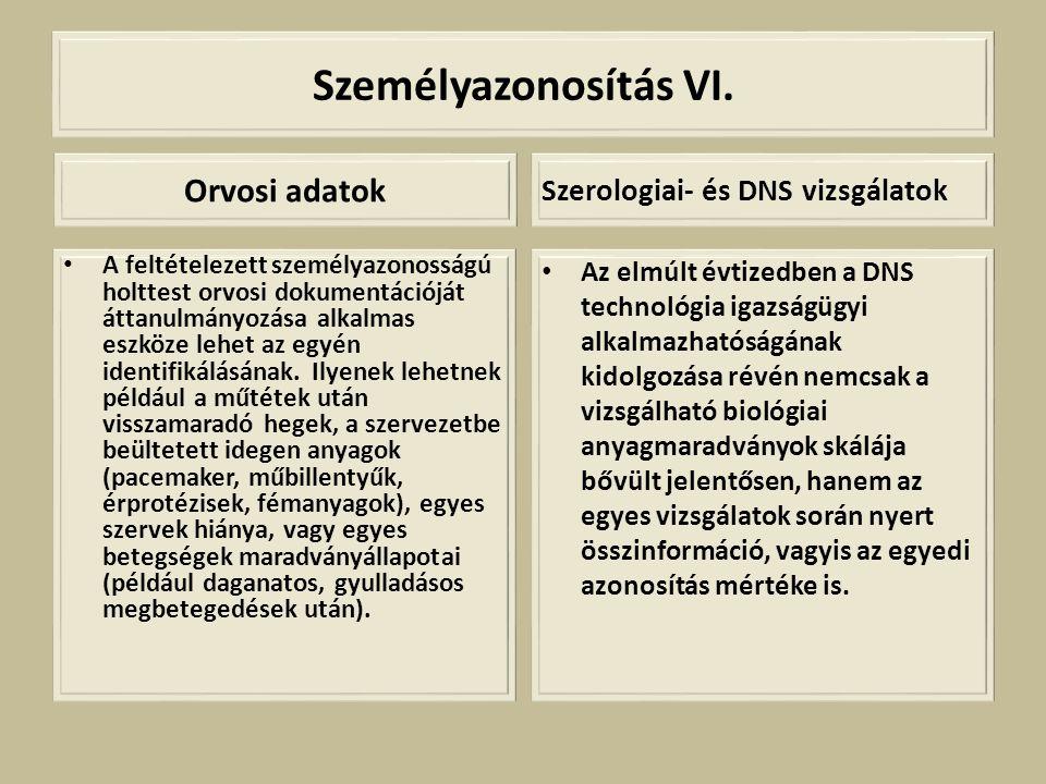 Személyazonosítás VI. Orvosi adatok • A feltételezett személyazonosságú holttest orvosi dokumentációját áttanulmányozása alkalmas eszköze lehet az egy