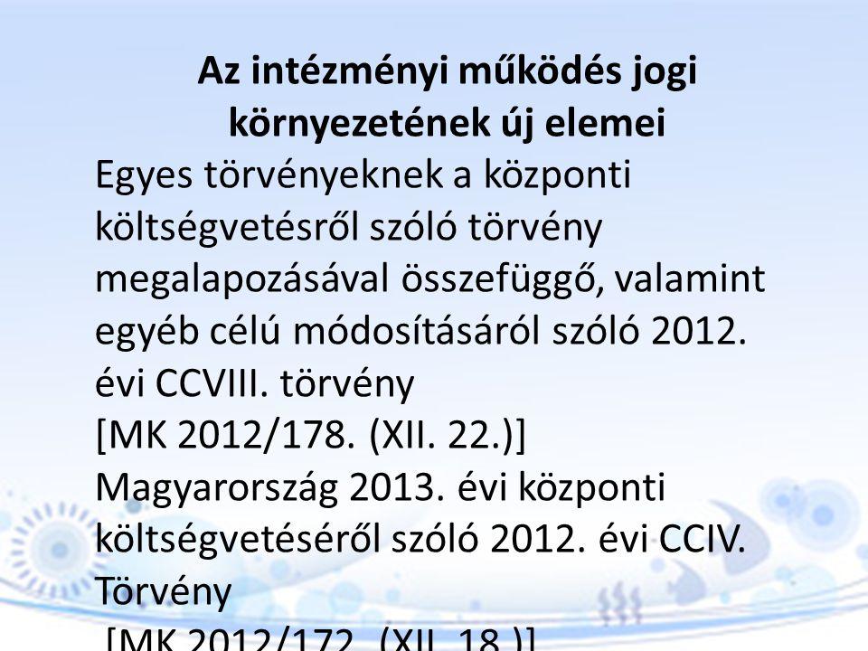 Magyarország 2013.évi központi költségvetését megalapozó egyes törvények módosításáról szóló 2012.