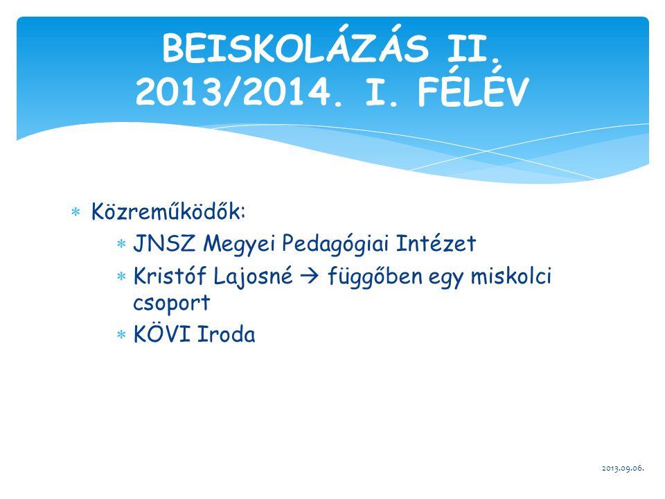  Közreműködők:  JNSZ Megyei Pedagógiai Intézet  Kristóf Lajosné  függőben egy miskolci csoport  KÖVI Iroda 2013.09.06. BEISKOLÁZÁS II. 2013/2014.