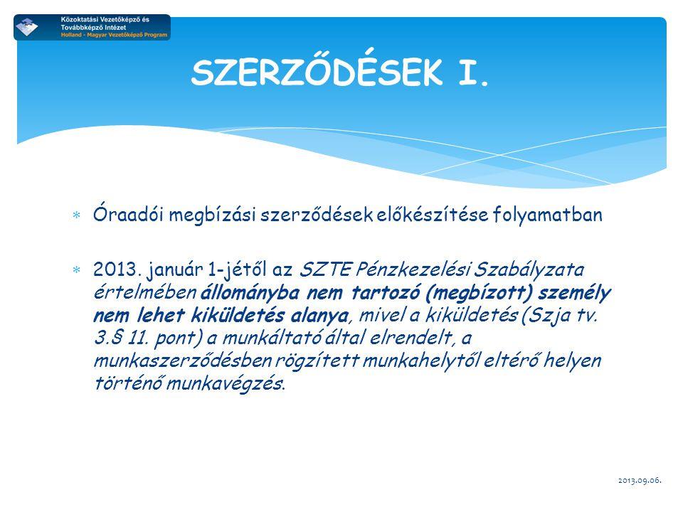  Óraadói megbízási szerződések előkészítése folyamatban  2013. január 1-jétől az SZTE Pénzkezelési Szabályzata értelmében állományba nem tartozó (me