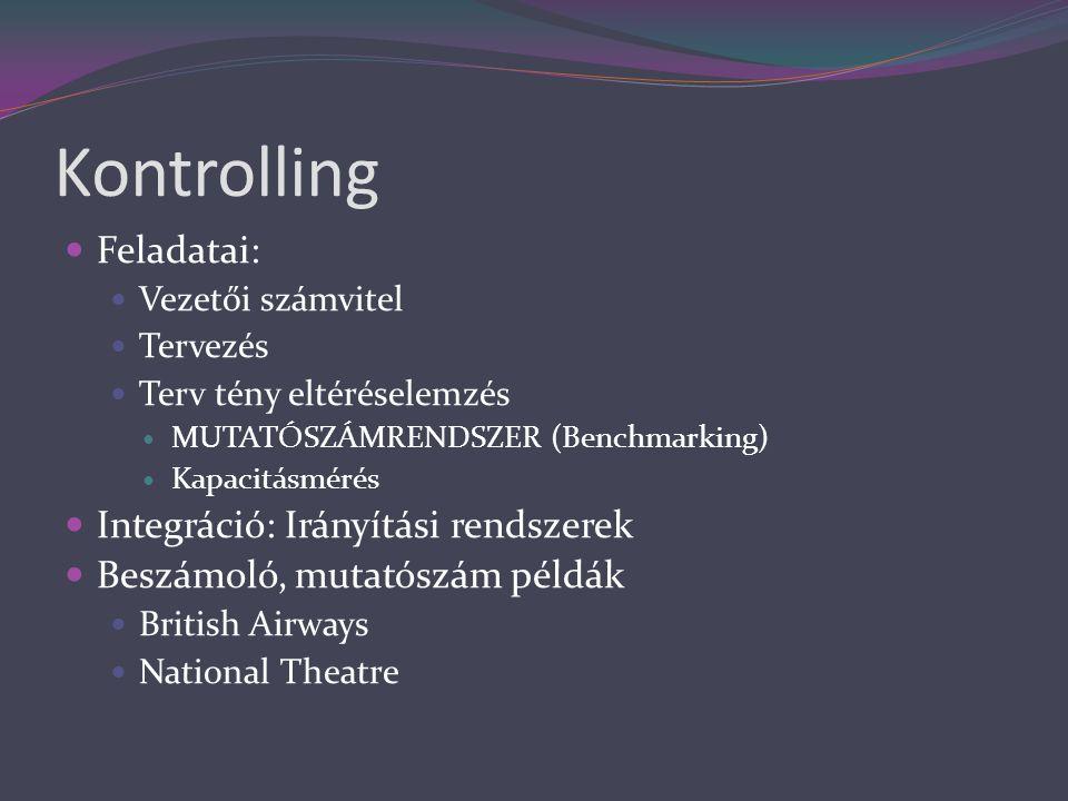 Kontrolling  Feladatai:  Vezetői számvitel  Tervezés  Terv tény eltéréselemzés  MUTATÓSZÁMRENDSZER (Benchmarking)  Kapacitásmérés  Integráció: Irányítási rendszerek  Beszámoló, mutatószám példák  British Airways  National Theatre