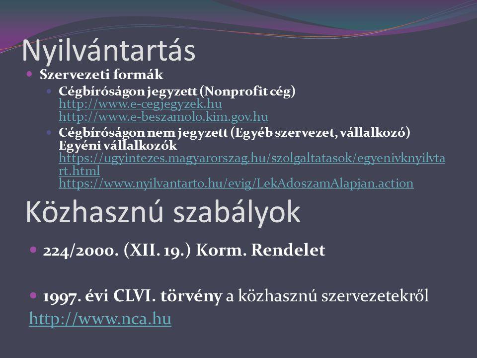 Nyilvántartás  224/2000. (XII. 19.) Korm. Rendelet  1997. évi CLVI. törvény a közhasznú szervezetekről http://www.nca.hu Közhasznú szabályok  Szerv