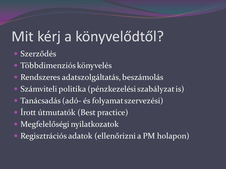 Mit kérj a könyvelődtől?  Szerződés  Többdimenziós könyvelés  Rendszeres adatszolgáltatás, beszámolás  Számviteli politika (pénzkezelési szabályza