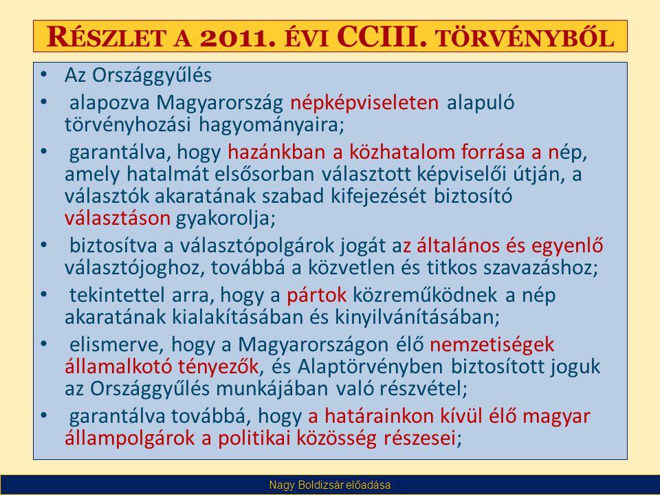 Nagy Boldizsár előadása R ÉSZLET A 2011. ÉVI CCIII.