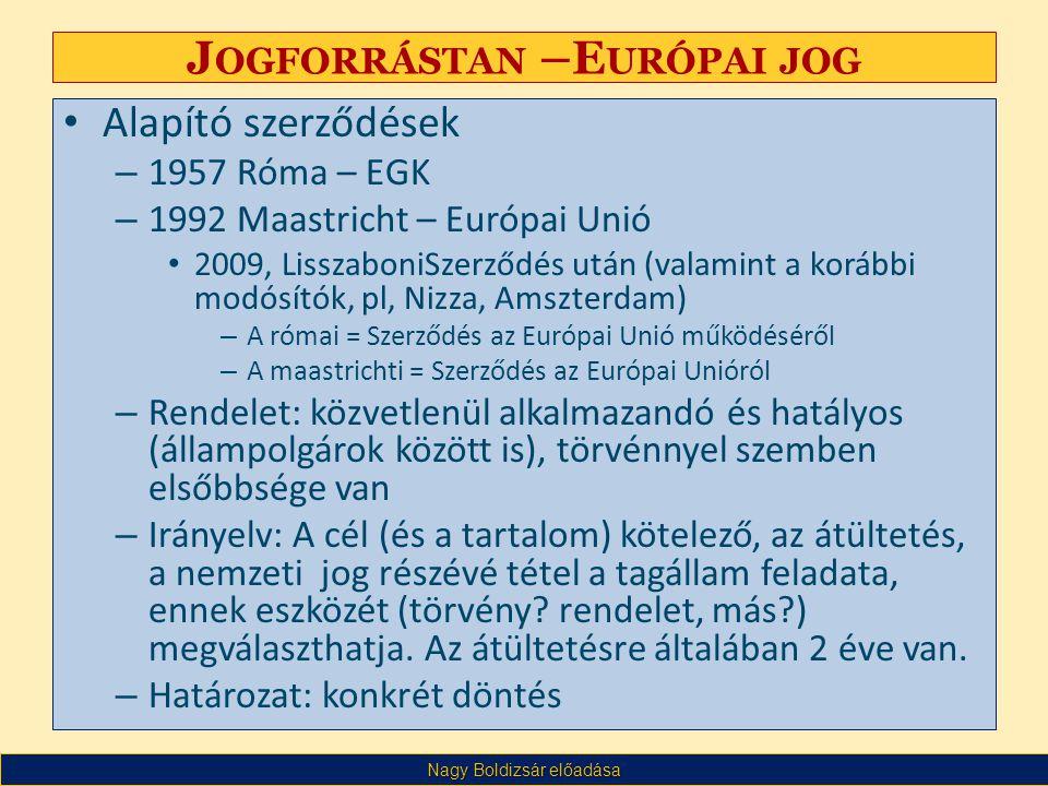 Nagy Boldizsár előadása J OGFORRÁSTAN –E URÓPAI JOG • Alapító szerződések – 1957 Róma – EGK – 1992 Maastricht – Európai Unió • 2009, LisszaboniSzerződés után (valamint a korábbi modósítók, pl, Nizza, Amszterdam) – A római = Szerződés az Európai Unió működéséről – A maastrichti = Szerződés az Európai Unióról – Rendelet: közvetlenül alkalmazandó és hatályos (állampolgárok között is), törvénnyel szemben elsőbbsége van – Irányelv: A cél (és a tartalom) kötelező, az átültetés, a nemzeti jog részévé tétel a tagállam feladata, ennek eszközét (törvény.