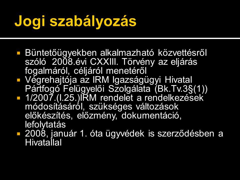  Büntetőügyekben alkalmazható közvettésről szóló 2008.évi CXXIII.