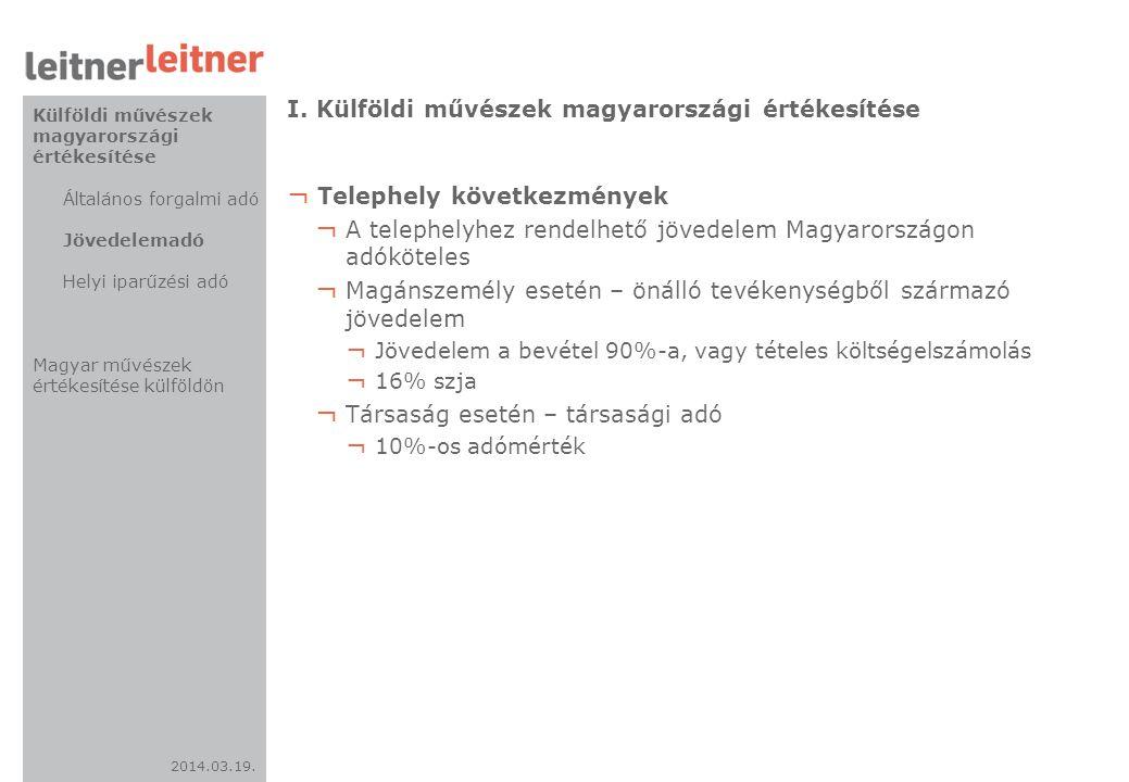 2014.03.19. I. Külföldi művészek magyarországi értékesítése ¬ Telephely következmények ¬ A telephelyhez rendelhető jövedelem Magyarországon adóköteles