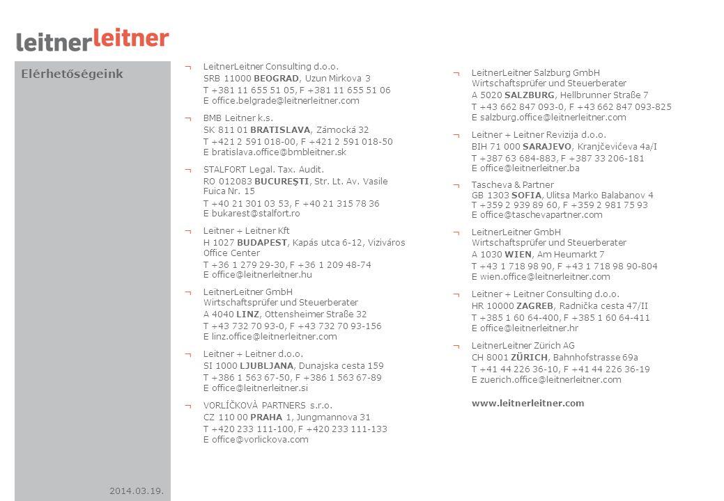 2014.03.19. Elérhetőségeink ¬ LeitnerLeitner Consulting d.o.o. SRB 11000 BEOGRAD, Uzun Mirkova 3 T +381 11 655 51 05, F +381 11 655 51 06 E office.bel