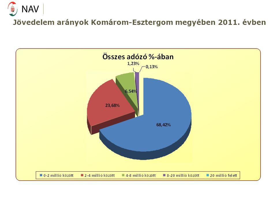 Jövedelem arányok Komárom-Esztergom megyében 2011. évben