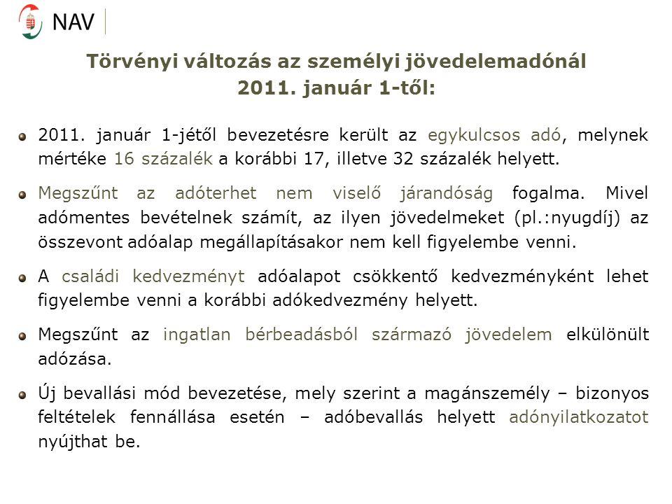 Törvényi változás az személyi jövedelemadónál 2011.
