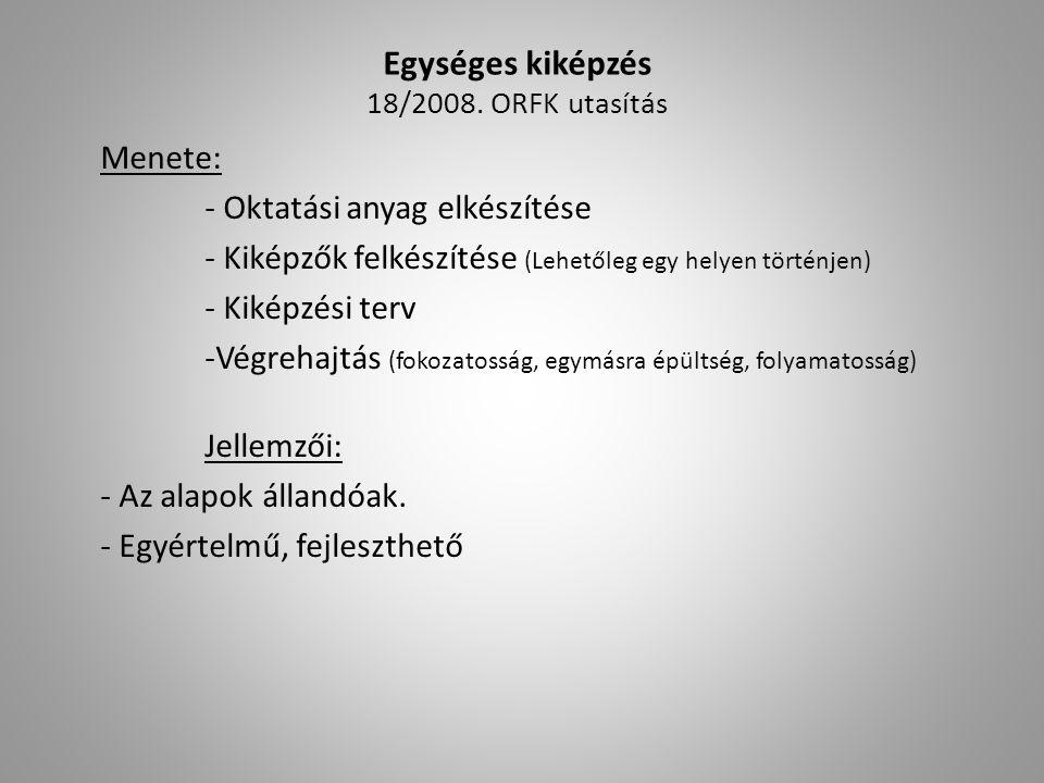 Egységes kiképzés 18/2008. ORFK utasítás Menete: - Oktatási anyag elkészítése - Kiképzők felkészítése (Lehetőleg egy helyen történjen) - Kiképzési ter