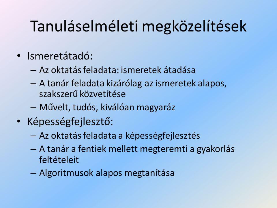 Tanuláselméleti megközelítések II.