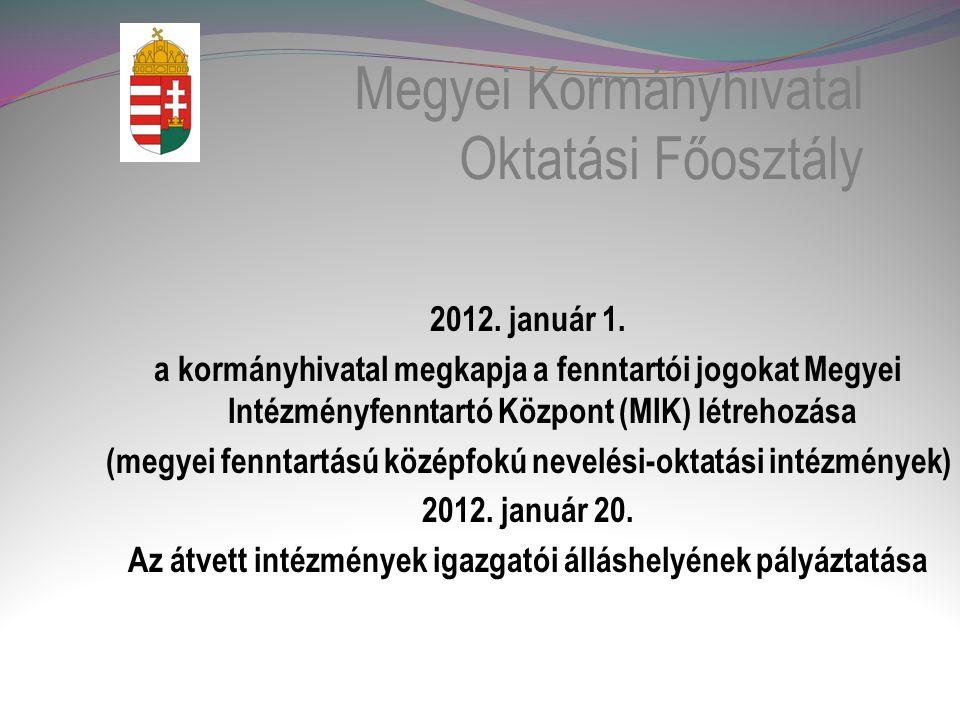 Megyei Kormányhivatal Oktatási Főosztály 2012.január 1.