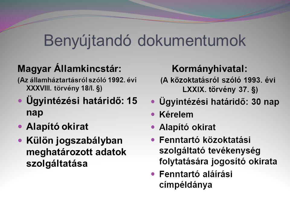 Benyújtandó dokumentumok Magyar Államkincstár: (Az államháztartásról szóló 1992.