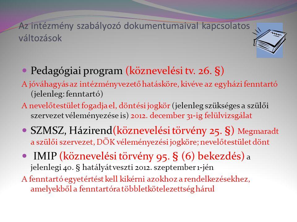 Az intézmény szabályozó dokumentumaival kapcsolatos változások  Pedagógiai program (köznevelési tv.