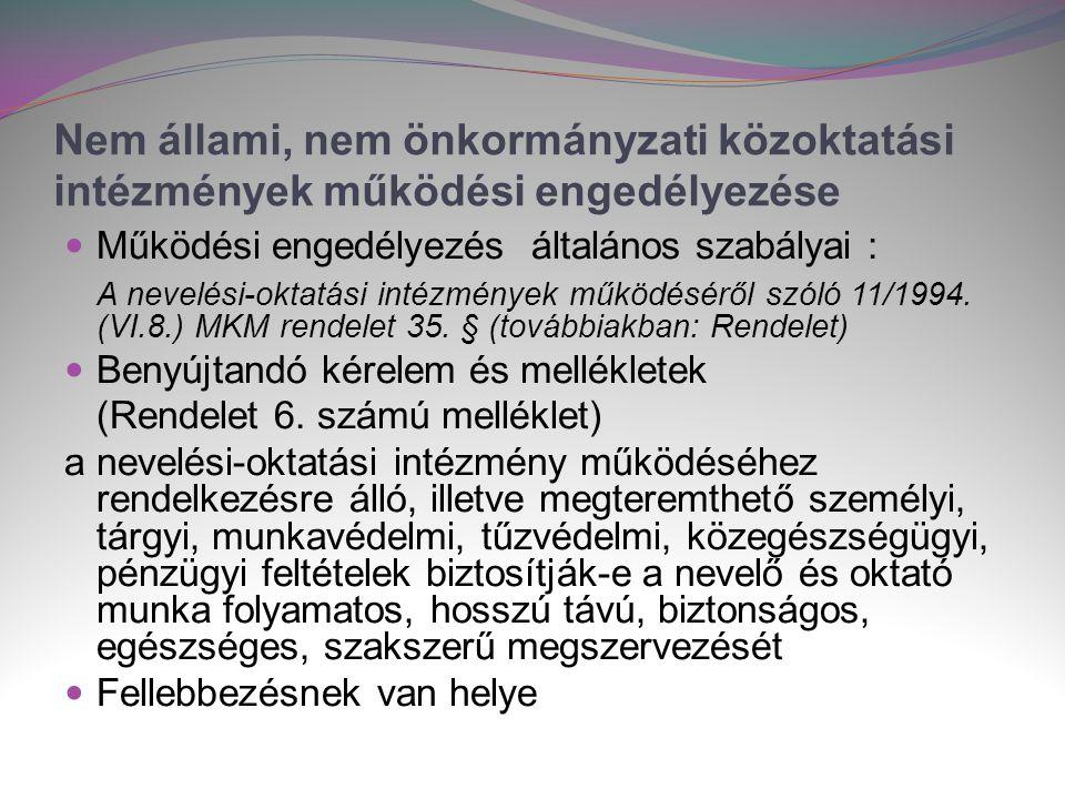 Nem állami, nem önkormányzati közoktatási intézmények működési engedélyezése  Működési engedélyezés általános szabályai : A nevelési-oktatási intézmények működéséről szóló 11/1994.