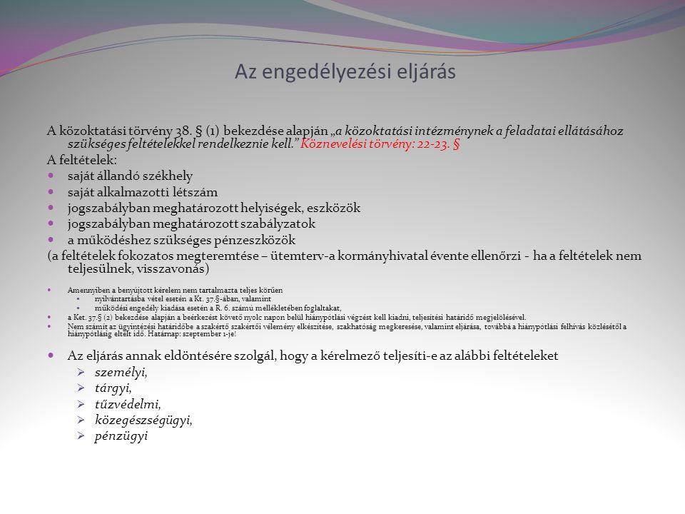Az engedélyezési eljárás A közoktatási törvény 38.