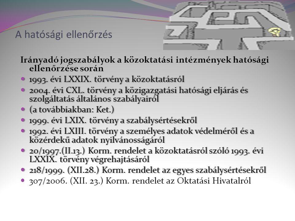 A hatósági ellenőrzés Irányadó jogszabályok a közoktatási intézmények hatósági ellenőrzése során  1993.