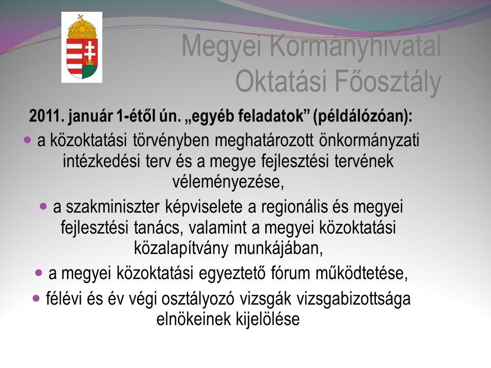 Megyei Kormányhivatal Oktatási Főosztály 2011.január 1-étől ún.