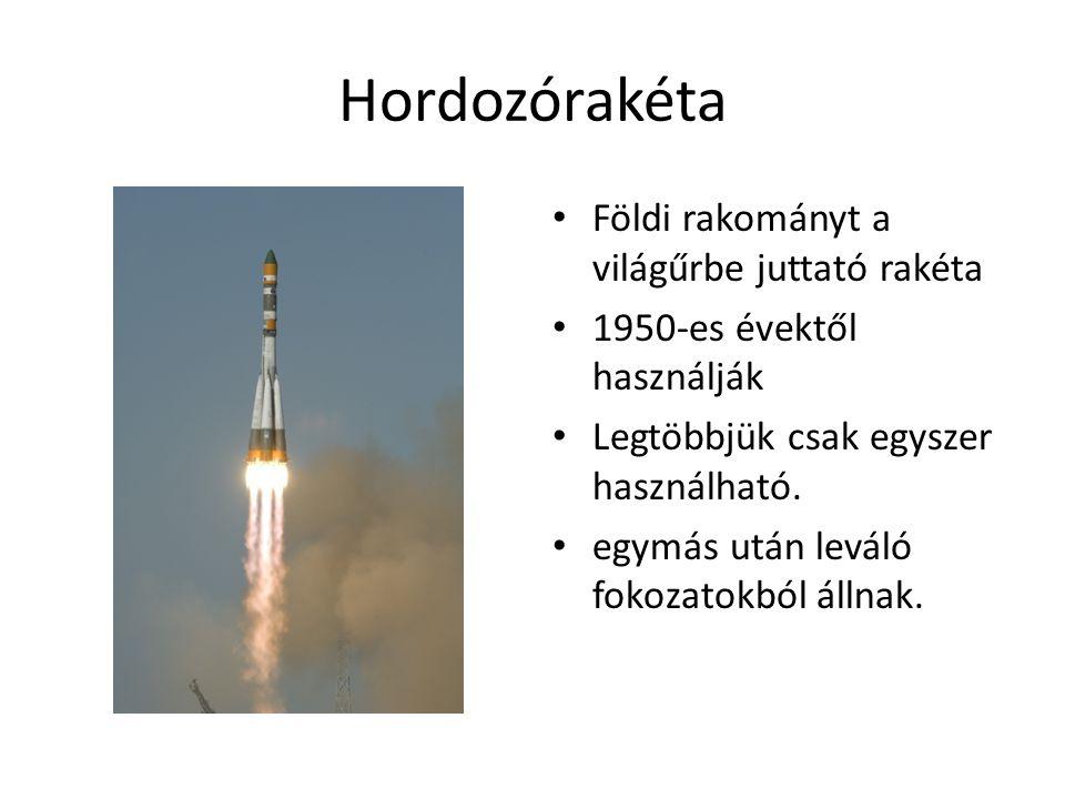 Hordozórakéta • Földi rakományt a világűrbe juttató rakéta • 1950-es évektől használják • Legtöbbjük csak egyszer használható. • egymás után leváló fo
