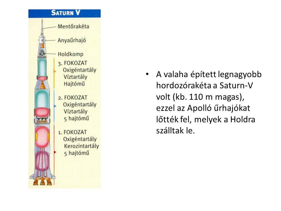 • A valaha épített legnagyobb hordozórakéta a Saturn-V volt (kb. 110 m magas), ezzel az Apolló űrhajókat lőtték fel, melyek a Holdra szálltak le.