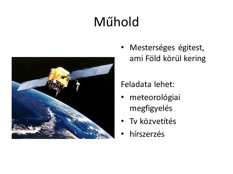 Műhold • Mesterséges égitest, ami Föld körül kering Feladata lehet: • meteorológiai megfigyelés • Tv közvetítés • hírszerzés