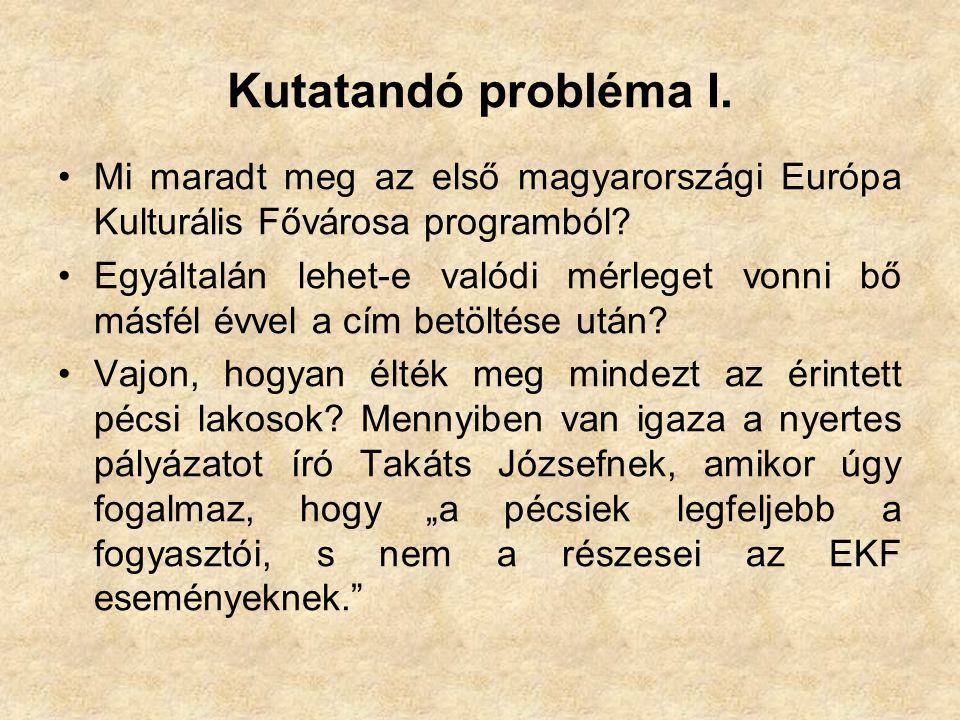 Kutatandó probléma I. •Mi maradt meg az első magyarországi Európa Kulturális Fővárosa programból.